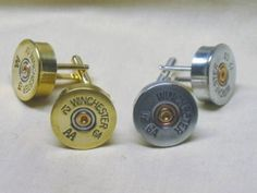 Shotgun Shell Cufflinks are handmade using authentic 12 gauge Winchester or Remington Shotgun Shell hulls. Shotgun Shell Art, Shotgun Shells, Bullet Crafts, Gun Art, Unique Gifts For Men, Shell Crafts, Wedding Wishes, Things To Buy, Cufflinks
