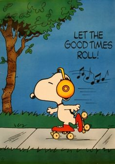 Let the Good Times Roll (Snoopy), 1960s - original vintage poster by Schultz listed on AntikBar.co.uk