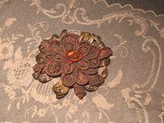 ANTIQUE / VINTAGE LARGE RIBBONWORK FLOWER RIBBON ROSE METALLIC