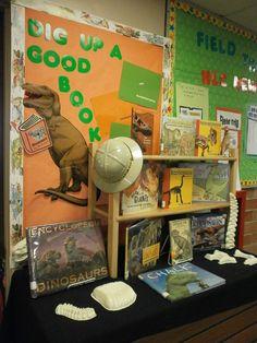 Dinosaur Book Display/ bulletin board. May be good for Dig into Reading summer reading program