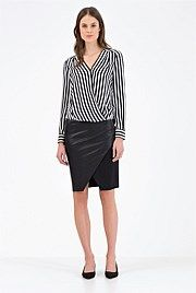 Country Road Stripe Wrap Shirt - much-loved wrap shirt returns, updated with a monochrome stripe that pairs perfectly with black and white separates.