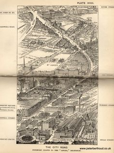 "The City Road - A bird's-eye view from Herbert Fry's ""London"" (1891)"