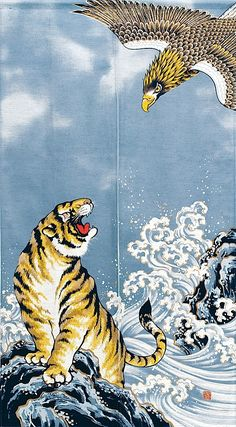 Japanese Tiger and eagle Aesthetic Iphone Wallpaper, Aesthetic Wallpapers, Cute Wallpapers, Wallpaper Backgrounds, Tiger Wallpaper Iphone, Japanese Wallpaper Iphone, Japon Illustration, Tiger Illustration, Arte Van Gogh