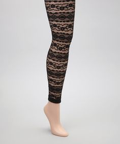 Take a look at this Black Lace Stripe Footless Tights by Anna Sui on #zulily today!