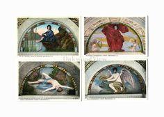 4 Library of Congress Vintage Postcards c1930s, Washington DC, Melpomene Adonis etc, Antique Unused Ephemera, Lot 7, FREE SHIPPING