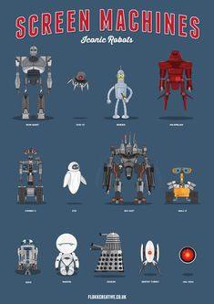 13 Iconic Robots in Screen Machines, an Infographic