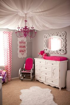 Looking for inspiration to decorate your daughter's room? Check out these Adorable, creative and fun girls' bedroom ideas. room decoration, a baby girl room decor, 5 yr old girl room decor. Girl Nursery, Girls Bedroom, Bedroom Decor, Bedroom Ceiling, Princess Nursery, Nursery Ideas, Bedroom Black, Baby Princess, Purple Princess Room