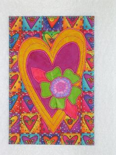HEART - Whimsical - Fabric Postcard Art Quilt Fabric Appliqued  4 x 6 art quilt on Etsy, $6.00