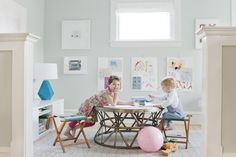 Playroom by Emily Henderson using FLOR vintage vibe custom carpet tiles.--  WALL COLOR