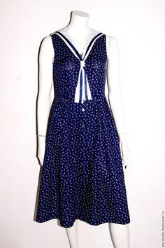 Купить Платье модель 71625 - тёмно-синий, рисунок, платье, платье летнее, платье шелковое