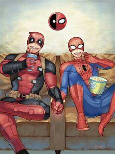 Read from the story Imágenes Spideypool/SuperFamily Y Otros CANCELADA. Deadpool X Spiderman, Deadpool Funny, Spideypool, Superfamily, Marvel Jokes, Marvel Dc Comics, Marvel Avengers, Spaider Man, Marvel Couples