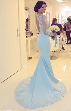 Light Blue Prom Dress, Sexy Full Sleeve Evening Dress, Mermaid Prom Dresses,Appliques Lace Long Dress
