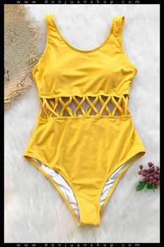 Ocean Story Solid One-piece Swimsuit Day Sale! - Ocean Story Solid One-piece Swimsuit - Bathing Suits For Teens, Summer Bathing Suits, Swimsuits For Teens, Bathing Suits One Piece, Cute Bathing Suits, Women Swimsuits, Yellow Bathing Suit, Yellow Swimsuit One Piece, Fashion Clothes