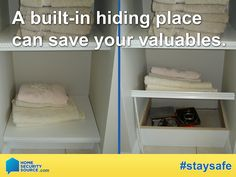 Home Security: Burglars have a short amount of time to be in and out of a home. Hidden compartments are a great way to keep your valuables safe from potential thieves. Check out this handy trick! To learn more about home security visit: HomeSecuritySource.com