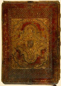 A Corvinák egy példánya. A szalagfonatos díszítések a velencei típusú könyvkötésre vallanak.