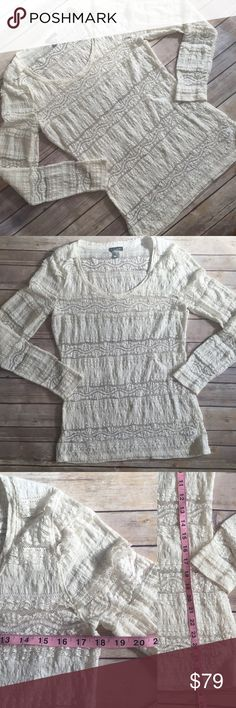 Large Express Lace Tiered Top Gorgeous Express Lace Tiered Top. In like new condition, I don't think I've ever worn it but it's gorgeous preppy boho, pair it with a jean jacket or blazer when it gets cooler! Measurements for bust and length pictured. Color is Ivory. Express Tops
