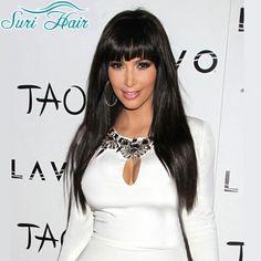 高品質合成かつら黒人女性ロングストレート合成前髪安いかつら用女性黒ウィッグコスプレperuk