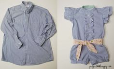 From mens dress shirt to girls romper