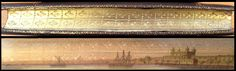 "Fore-edge painting. The Poetical Works of George Herbert (London : James Nisbet and Co., 1856) – The gilt edges are also ""gauffered"" in a fleur-de-lis pattern. The landscape looks like the Tower of London on the Thames."