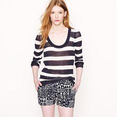 Stripe linen open-stitch sweater