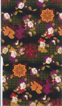 David Textiles Oriental Flowers on Green and by BlueCraneQuiltShop,