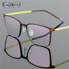 55f100e5720 EAGWOO EMS Pure Titanium Eyeglasses Girl Men Full Rim Optical Frame  Prescription Spectacle Square Myopia Eye Glasses 890022