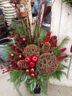 Christmas Urns, Christmas Planters, Christmas Flowers, Winter Christmas, Christmas Time, Christmas Wreaths, Christmas Flower Arrangements, Christmas Centerpieces, Outdoor Christmas Decorations