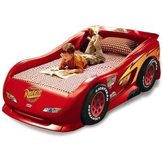 Little Tikes Disney Pixar's Cars the Movie Lightning McQueen Sports Car Twin Bed Kids Race Car Bed, Toddler Car Bed, Car Themed Bedrooms, Car Bedroom, Cama Cars, Lightning Mcqueen Bed, Boy Room, Kids Room, Child's Room