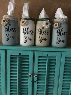Bless You Mason jar tissue holders! Bless You Mason jar tissue holders! Jar Crafts, Bottle Crafts, Home Crafts, Chalk Crafts, Easter Crafts, Mason Jar Art, Mason Jar Gifts, Mason Jar Painting, Diy Mason Jar Lights