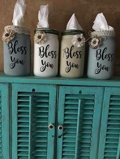 Bless You Mason jar tissue holders!