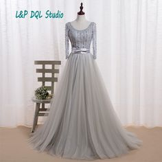 Find More Evening Dresses Information about Light Gray Evening Dresses Illusion Three Quarter Sleeve Aline Sweep Train Pleats Tulle Train Long Evening Dresses Shining Beads,High Quality dress euro,China dress up dolls fashion Suppliers, Cheap dress macys from L&P DQL Studio Lpdress Store on Aliexpress.com
