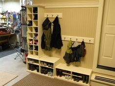 """""""mudroom"""" in garage - Since I don't have room for an inside mudroom this is a good idea, except in winter, your shoe an coats are cold."""
