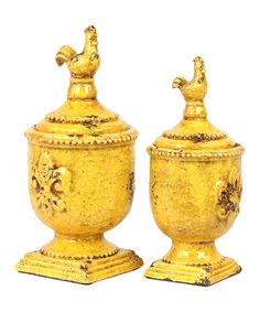 Take a look at this Yellow Rooster Jar Set by Urban Trends Collection on #zulily today!
