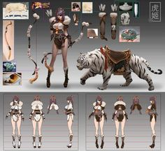 White Tiger,by Si Zhang Female Character Concept, Character Design Cartoon, Character Model Sheet, Character Sheet, Character Modeling, Character Creation, Character Design References, Character Design Inspiration, Game Character