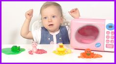 Learn Colors with Surprise Eggs and Microwave for Children Toddlers - Co...
