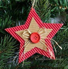 Corrugated Cardboard Christmas Star Ornament 3 More Preschool Christmas, Christmas Crafts For Kids, Homemade Christmas, Christmas Projects, Holiday Crafts, Christmas Ideas, Ornament Crafts, Diy Christmas Ornaments, Christmas Decorations