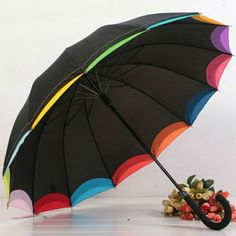 It could be a beautiful rain day with this rainbow selvedge umbrella. Golf Umbrella, Rain Umbrella, Under My Umbrella, Cool Umbrellas, Umbrellas Parasols, Walking In The Rain, Singing In The Rain, Umbrella Decorations, Carnival Birthday Parties