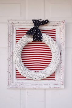 Bean Fourth of July Wreath - can't find the actual link to this but cute for my mantle or plant shelf