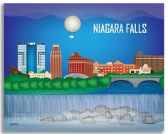 Available in an array of finishes, materials, and sizes, this retro inspired wall art will make Niagara Falls feel close to your heart with its bright color palette and unique design. You can start wi
