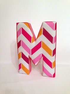 Fabric Letter M : Pink Orange Chevron Initial Hanging Wall Decor on Etsy, $18.50