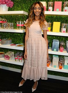 Pretty in pink: Supermodel Jourdan Dunn attends the launch of the Kate Spade New York stor...