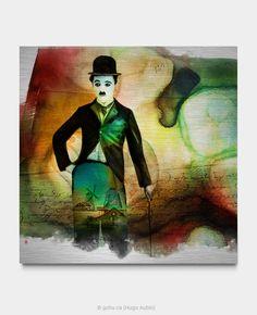 Portrait de Charlie Chaplin. Estampe numérique imprimée sur aluminium brossé avec application d'une résine d'époxy par endroits. Année : 2018  Format : 36 x 36 pouces Pop Art, Charlie Chaplin, Celebrity, Portrait, Painting, Street Art, Printmaking, Artist, Art Pop