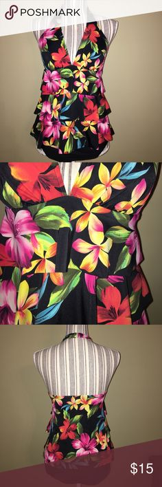 Caribbean Joe tankini suit - size 10 top & bottom Caribbean Joe tankini suit - halter top and bikini bottom. Worn once- excellent condition!! Floral halter top has scalloped tiered front that hides all those problem areas. Comes with black bikini bottoms. Caribbean Joe Swim
