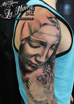 Virgin Mary statue tattoo by Sami Haataja @ La Muerte Ink