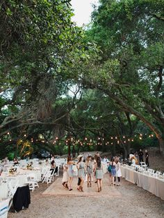 Happy Outside Wedding...No tent though. Pretty Trees