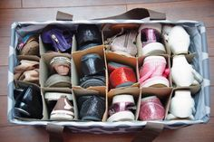 Genius Ways to Keep Shoes Tidy Just one more use for the Lg Utility Tote.just add wine box dividers and you have a great shoe storage tote.Just one more use for the Lg Utility Tote.just add wine box dividers and you have a great shoe storage tote. Shoe Storage Solutions, Diy Shoe Storage, Storage Ideas, Shoe Cubby, Shoe Storage Totes, Budget Storage, Bedside Storage, Storage Hacks, Kids Clothes Organization