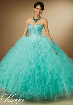 Embroidery and Beading Ruffled Tulle Feathers Quinceanera Dress