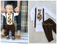 Baby Boy Tie and Suspenders Bodysuit w Personalization & Chocolate Brown Pants w Buttons. Birthday Outfit. Fall Thanksgiving Plaid Christmas...