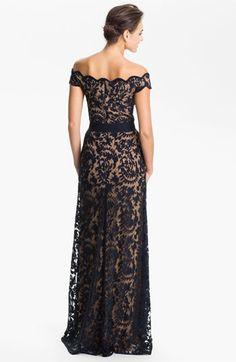 Tadashi Shoji Lace Overlay Off Shoulder Gown | Nordstrom