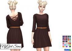 Belted Cross Back Dress in Solids and Fall Prints at NyGirl Sims via Sims 4 Updates